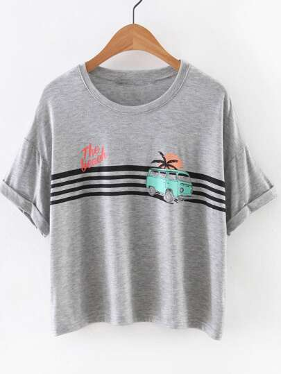 Grey Short Sleeve Bus Print Casual T-shirt