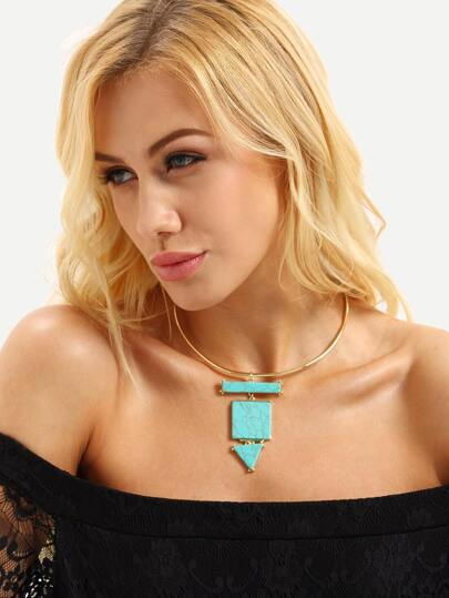 Gold Turquoise Pendant Choker Necklace