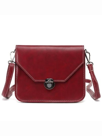 Faux Leather Push-Lock Flap Bag - Burgandy