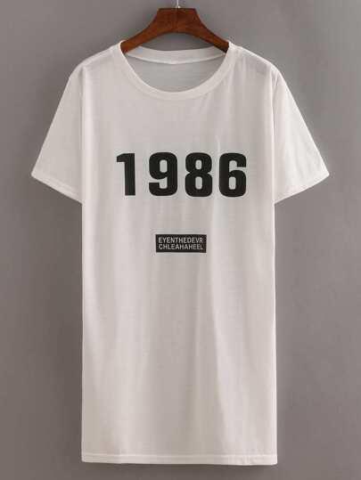 Letters Print Tshirt Dress White