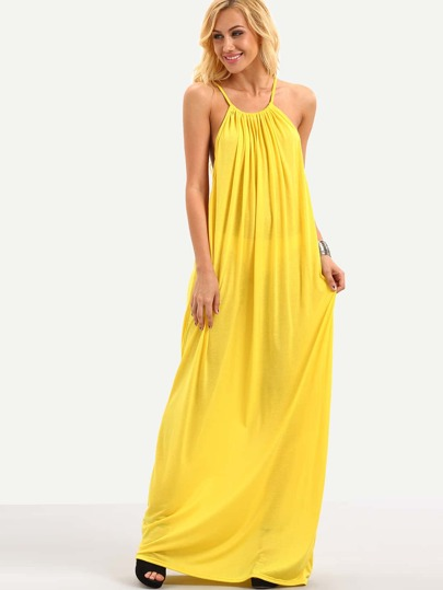 Halter Neck Drop Armhole Loose-Fit Dress - Yellow