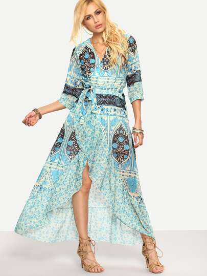 Floral Self-Tie Cross Wrap Asymmetric Dress - Blue