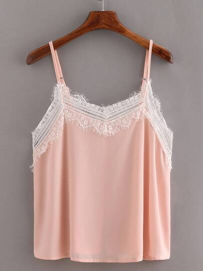 Lace Trimmed Chiffon Cami Top - Pink