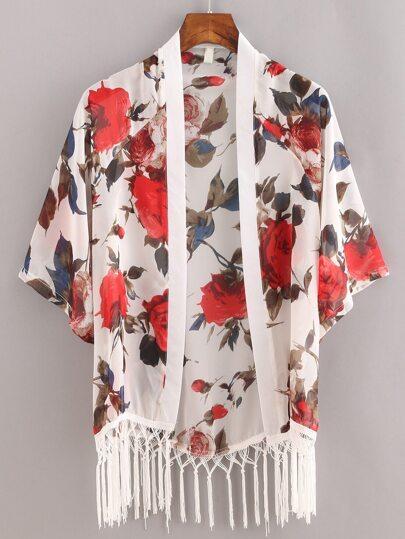 Macrame Fringe Flower Print Chiffon Kimono - White