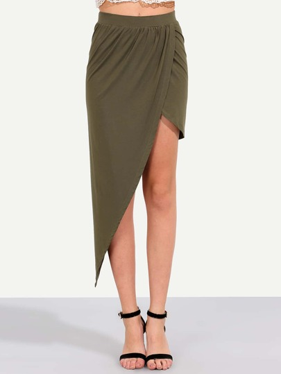 Amry Green Asymmetrical Skirt