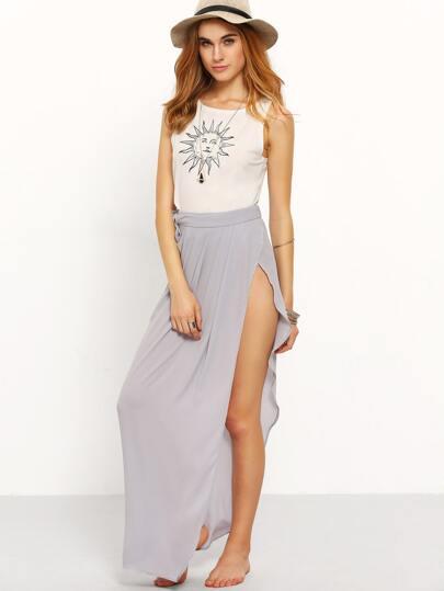 Grey Tie Waist Split Side Maxi Skirt