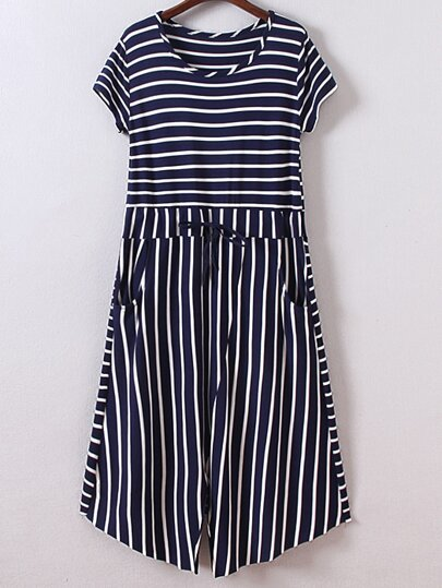 Navy Short Sleeve Tie-Waist Pockets Stripe Dress