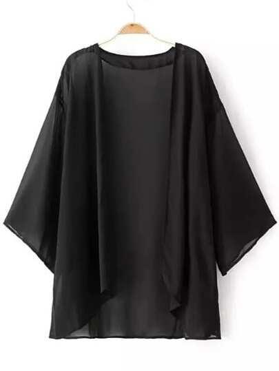 Black Elbow Sleeve Chiffon Cardigan Kimono