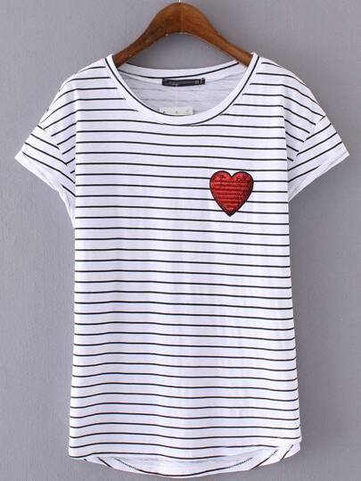 Black White Stripe Sequined Heart Short Sleeve T-shirt