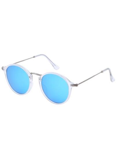 Blue Lenses Sheer Round Frame Sunglasses