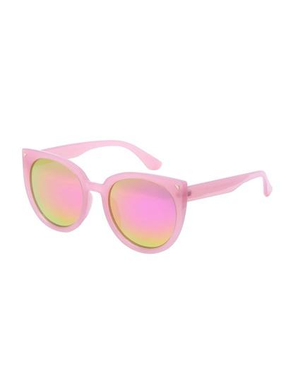 Pink Lenses Oversized Round Cat Eye Sunglasses