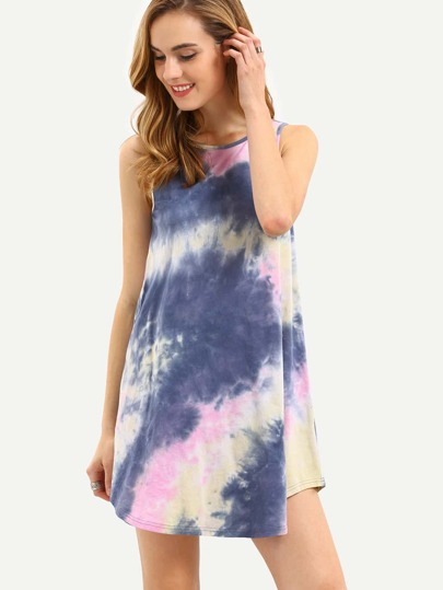 Multicolor Curved Hem Dress With Tie Dye