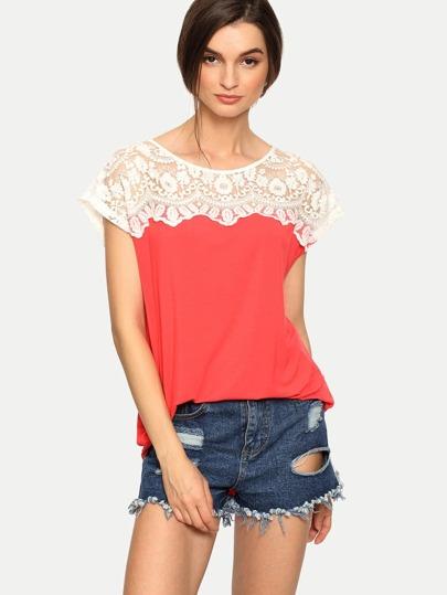 Multicolor Cap Sleeve Hollow T-shirt