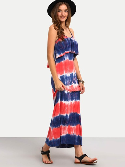 فستان ملون بطباعة وحمالات رقيقة