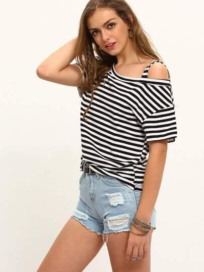 Black White Stipe Cold Shoulder Short Sleeve T-shirt