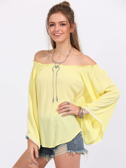 Yellow Off The Shoulder Bell Sleeve Blouse