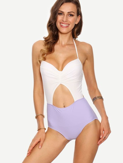Contrast Ruched Cutout One-Piece Swimwear