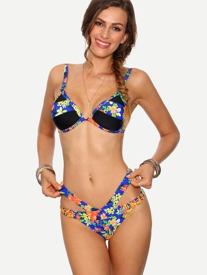 Multicolor Flower Print Cutout Bikini Set