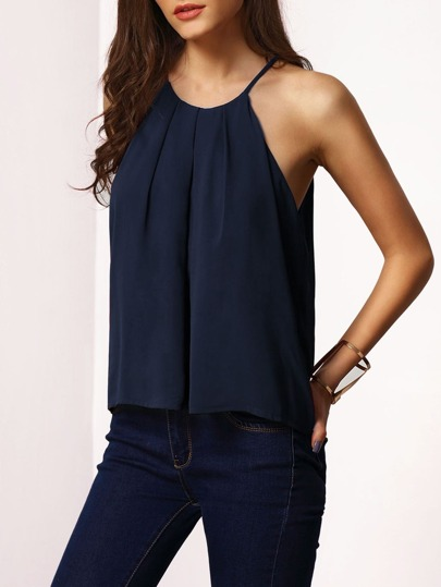 Navy Spaghetti Strap Lace-up Cami Top