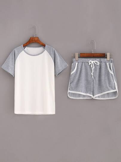 Contrast Raglan Sleeve Top With Drawstring Shorts