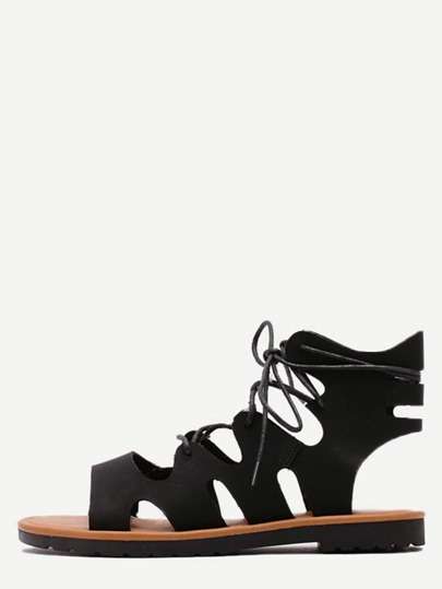 Black Hollow Strappy Platform Sandals