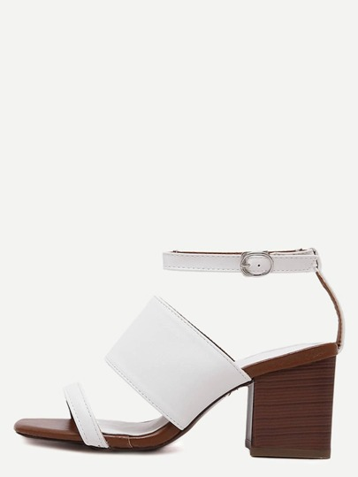 White Open Toe Ankle Strap Chunky Sandals