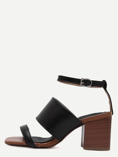 Black Open Toe Ankle Strap Chunky Sandals