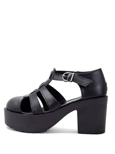 Black Round Toe Hollow Chunky Sandals