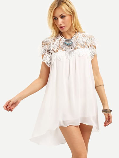 Lace Insert High-Low Chiffon Dress - White