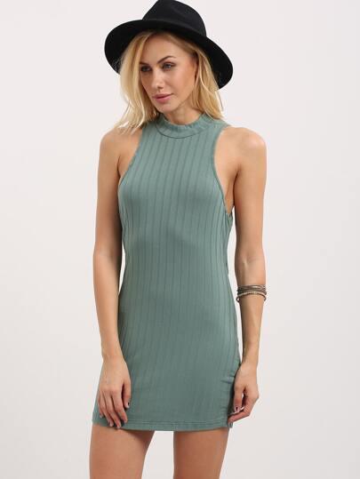 Mock Neck Ribbed Cutout Cross Back Dress - Green