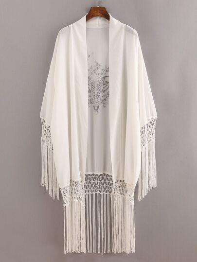 White Macrame Fringe Trimmed Printed Kimono