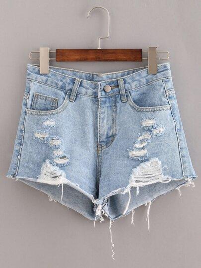 Denim Shorts mit Roh-Saum und zerrissenen Designs