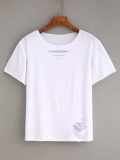 Ripped Plain White T-shirt
