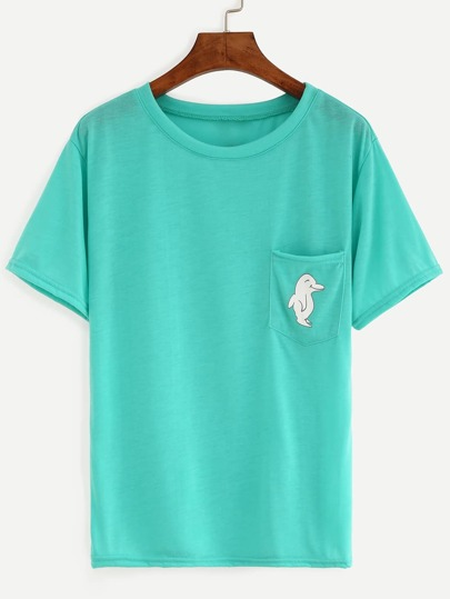 Green Dolphin Print Pocket T-Shirt