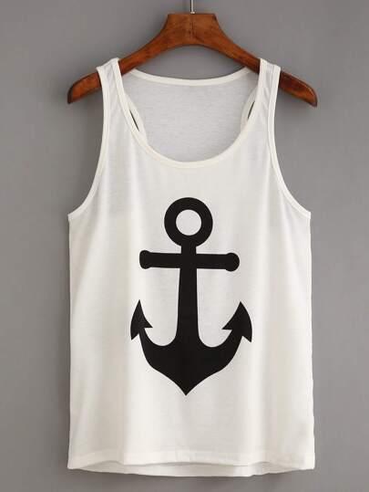 Anchor Print White Tank Top