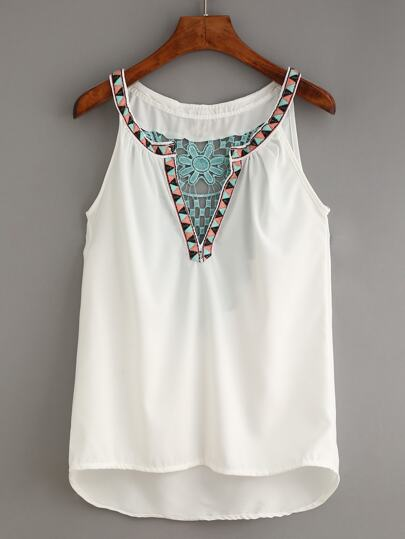 White V Neck Dip Hem Contrast Crochet Tank Top