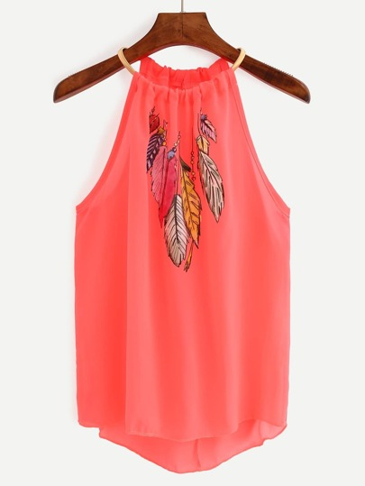 Keyhole Halter Neck Feather Print Top - Fluorescent Red