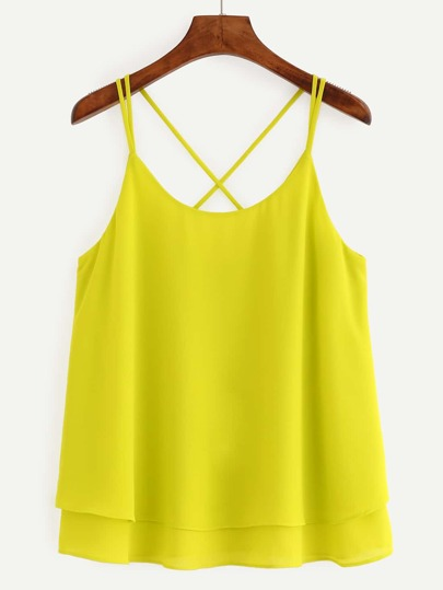 Crisscross Layered Chiffon Cami Top - Yellow