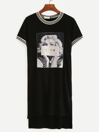 Dip Hem Striped Trim Monroe Print Tshirt Dress