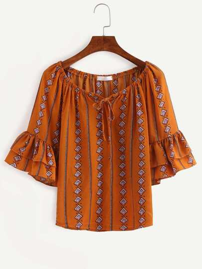 Tie-Neck Ruffled Sleeve Tribal Print Blouse - Brown