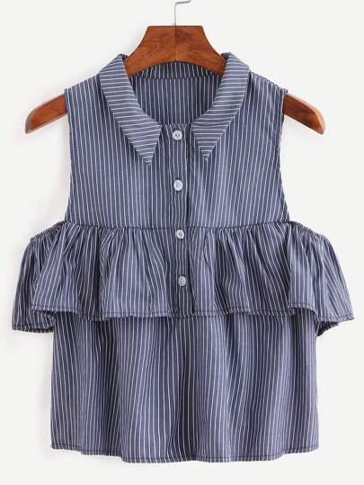 Ruffled Open Shoulder Vertical Striped Shirt - Blue