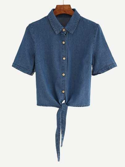 Blouse en denim manche courte avec nœud - bleu