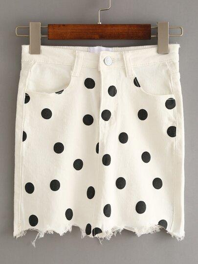 White Polka Dot Fringe Denim Skirt