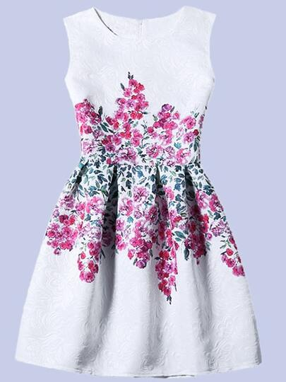 Flower Print Fit & Flare Sleeveless Dress - White