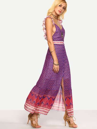 Buttoned Front Ruffled Tribal Print Dress - Purple