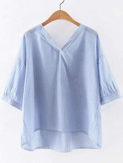 Blue V Neck High Low Hem Striped Blouse