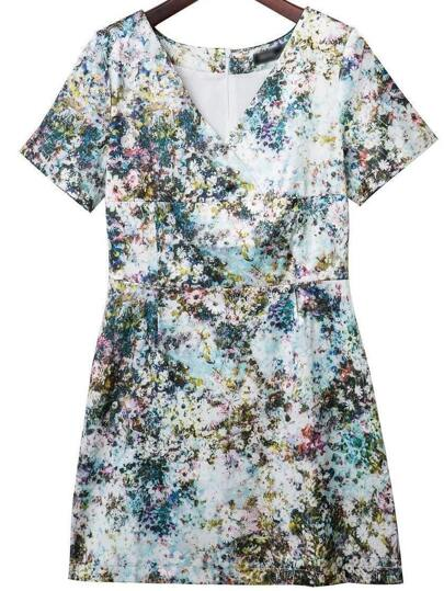 Multicolor Cross V Neck Zipper Back Flower Print Dress