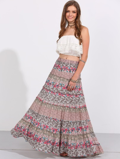 Gonna Maxi Boho Floreali - Multicolore
