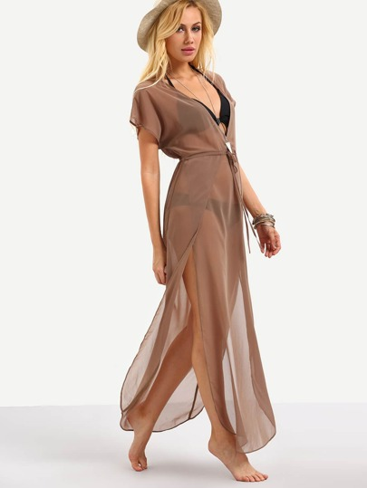 Brown Drawstring Waist V Neck Split Dress