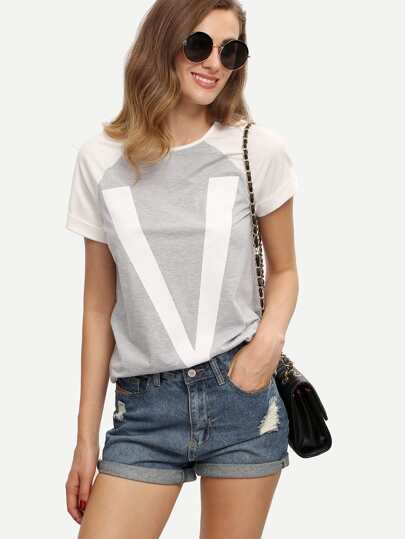 Colorblock Raglan Sleeve Letter Print T-shirt